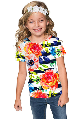 Hey-Sailor! Zoe Striped Floral Print Cute Designer Tee - Girls - Pineapple Clothing