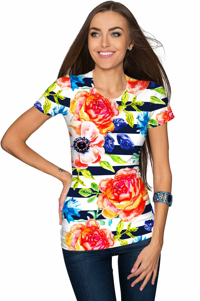 Hey-Sailor! Zoe Striped Floral Print Designer T-Shirt - Women - Pineapple Clothing