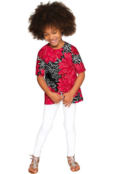 Hit The Mark Sophia Black Floral Print Fashion Top - Girls