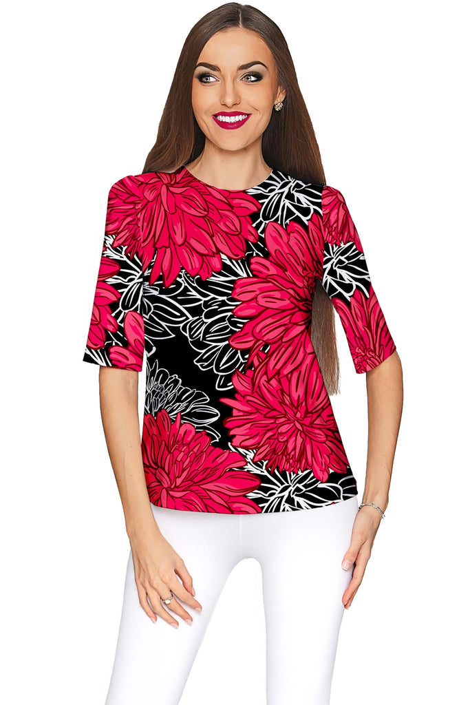 Hit The Mark Sophia Black Floral Sleeved Party Top - Women - Pineapple Clothing