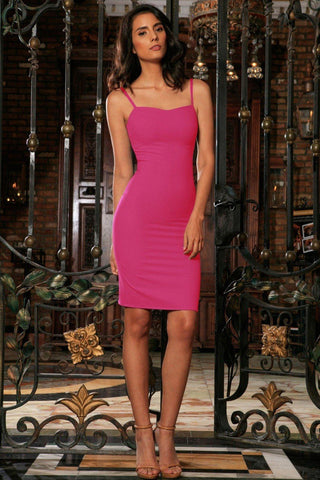 Hot Pink Fuchsia Stretch Sweetheart Evening Bodycon Mini Dress - Women - Pineapple Clothing