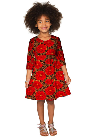 Hot Tango Gloria Fit & Flare Red Lace Print Dress - Girls - Pineapple Clothing