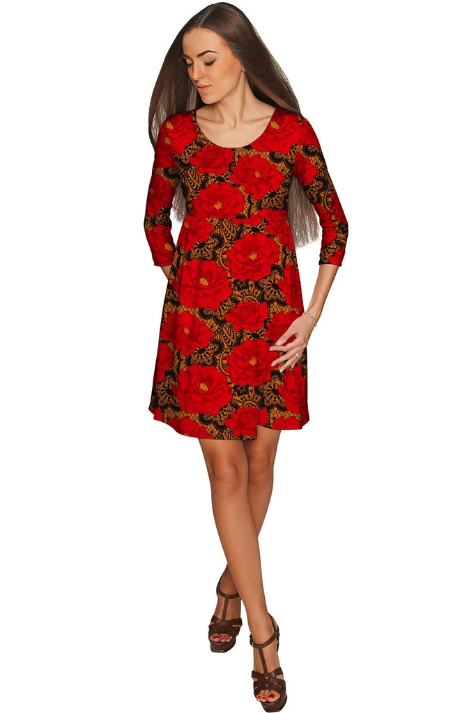 Hot Tango Gloria Empire Waist Red Floral Dress - Women - Pineapple Clothing