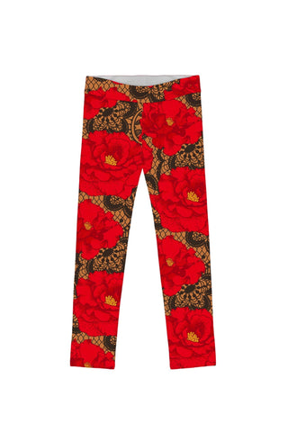 Hot Tango Lucy Cute Red Floral Printed Knit Leggings - Girls - Pineapple Clothing
