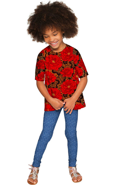 Hot Tango Sophia Red Floral Sleeved Party Dressy Top - Girls