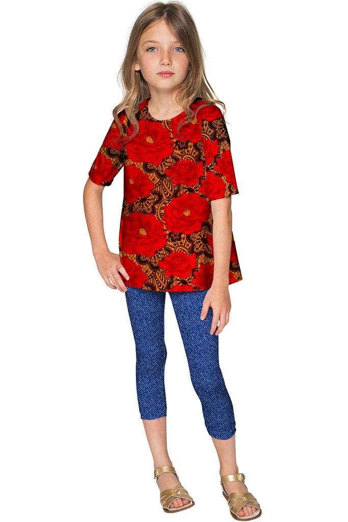 Hot Tango Sophia Red Floral Sleeved Party Dressy Top - Girls - Pineapple Clothing