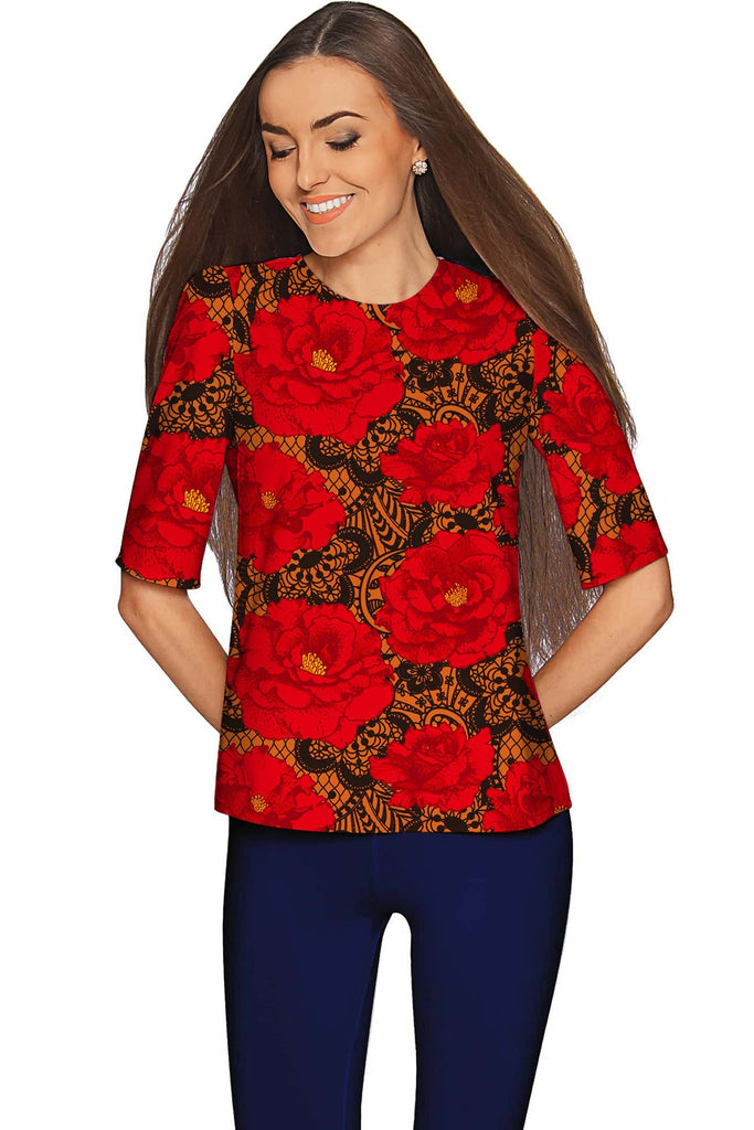 Hot Tango Sophia Red Floral Evening Sleeved Top - Women - Pineapple Clothing