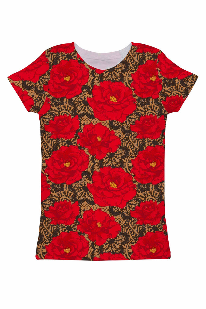 Hot Tango Zoe Red Floral Print Fancy Designer Tee - Women - Pineapple Clothing