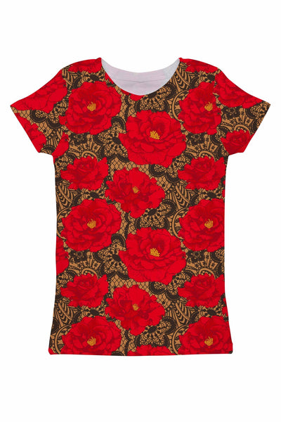 Hot Tango Zoe Red Floral Print Fancy Designer Tee - Women