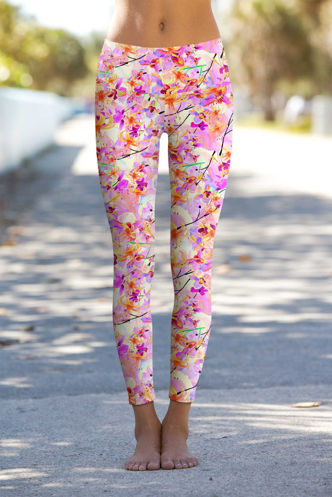 In Love Lucy Pink Floral Print Performance Leggings - Women - Pineapple Clothing