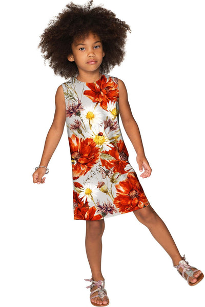 In The Wheat Field Adele Fancy Grey Floral Shift Dress - Girls