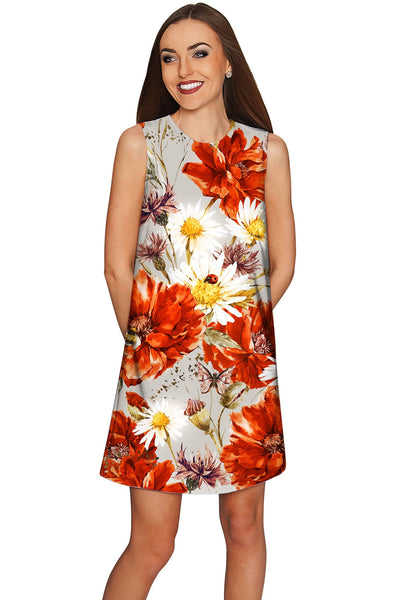 In The Wheat Field Adele Designer Floral Shift Dress - Women