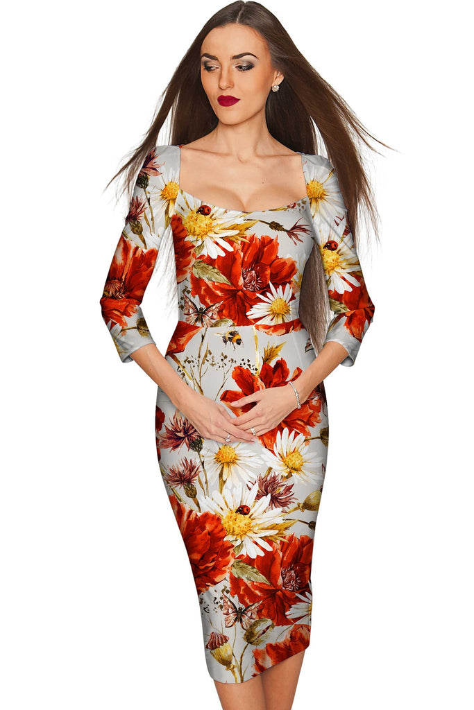In The Wheat Field Lili Grey Floral Pencil Dress - Women - Pineapple Clothing