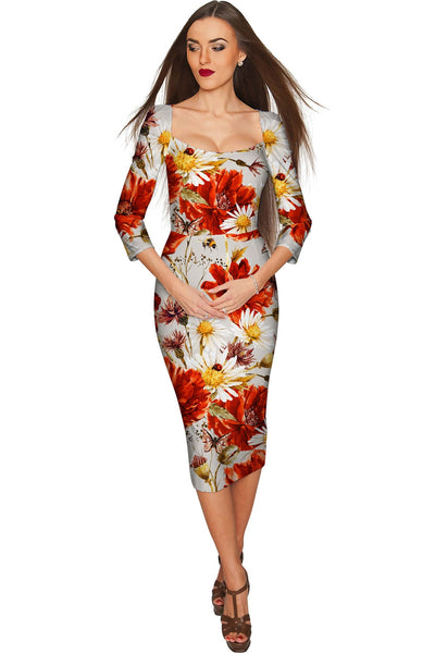 In The Wheat Field Lili Grey Floral Pencil Dress - Women