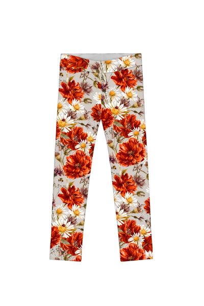 In The Wheat Field Lucy Cute Grey Floral Print Legging - Girls