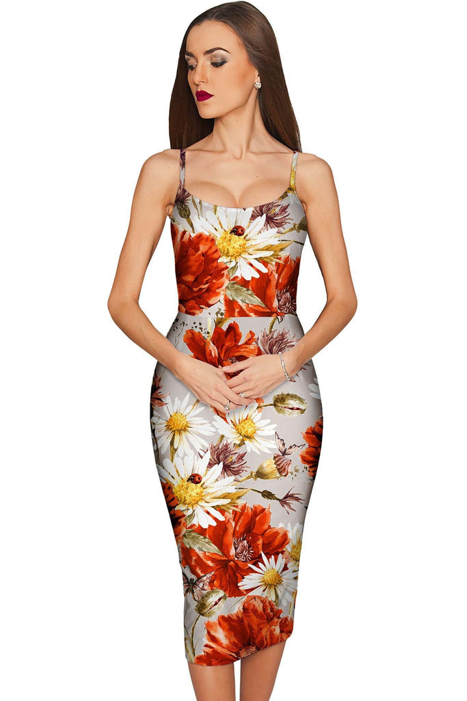 In The Wheat Field Olivia Grey Floral Pencil Dress - Women - Pineapple Clothing