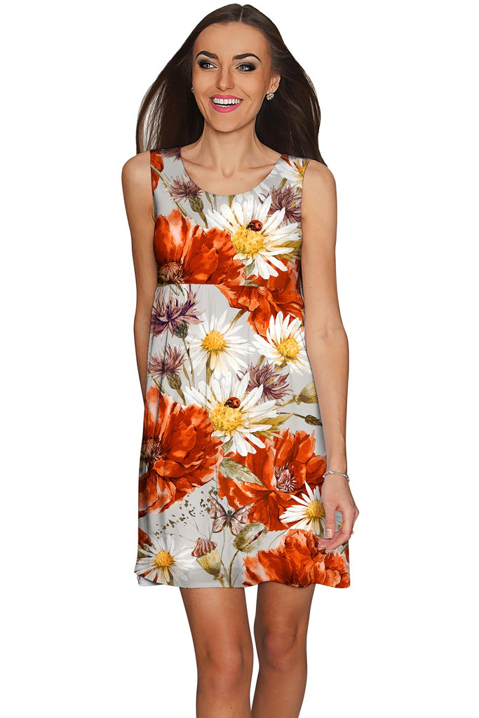 In The Wheat Field Sanibel Grey & Red Floral Dress - Women - Pineapple Clothing
