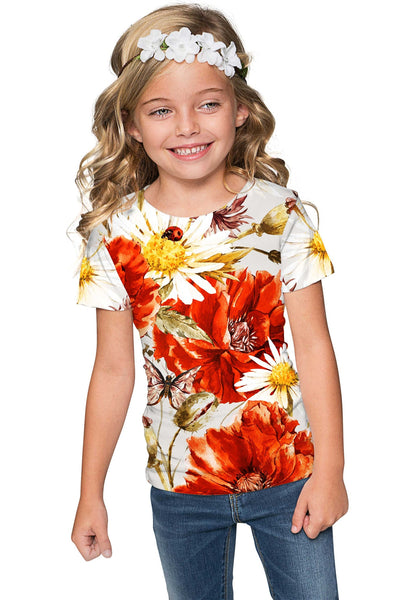 In The Wheat Field Zoe Floral Print Designer T-Shirt - Girls