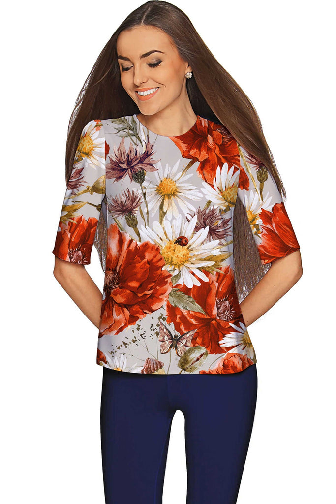 In the Wheat Field Sophia Floral Elegant Dressy Top - Women - Pineapple Clothing