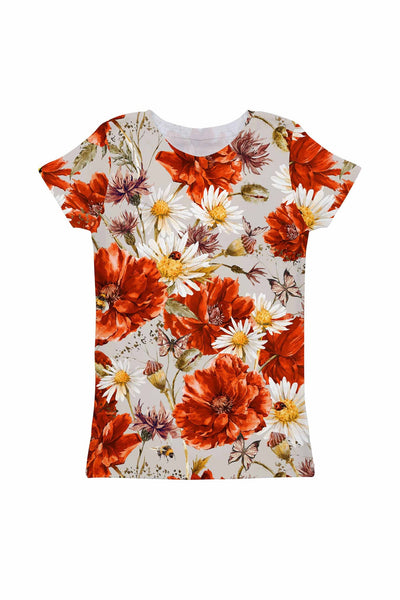 In the Wheat Field Zoe Grey Floral Print Designer Tee - Girls