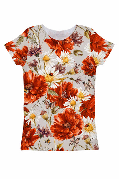 In the Wheat Field Zoe Floral Print Designer T-Shirt - Women