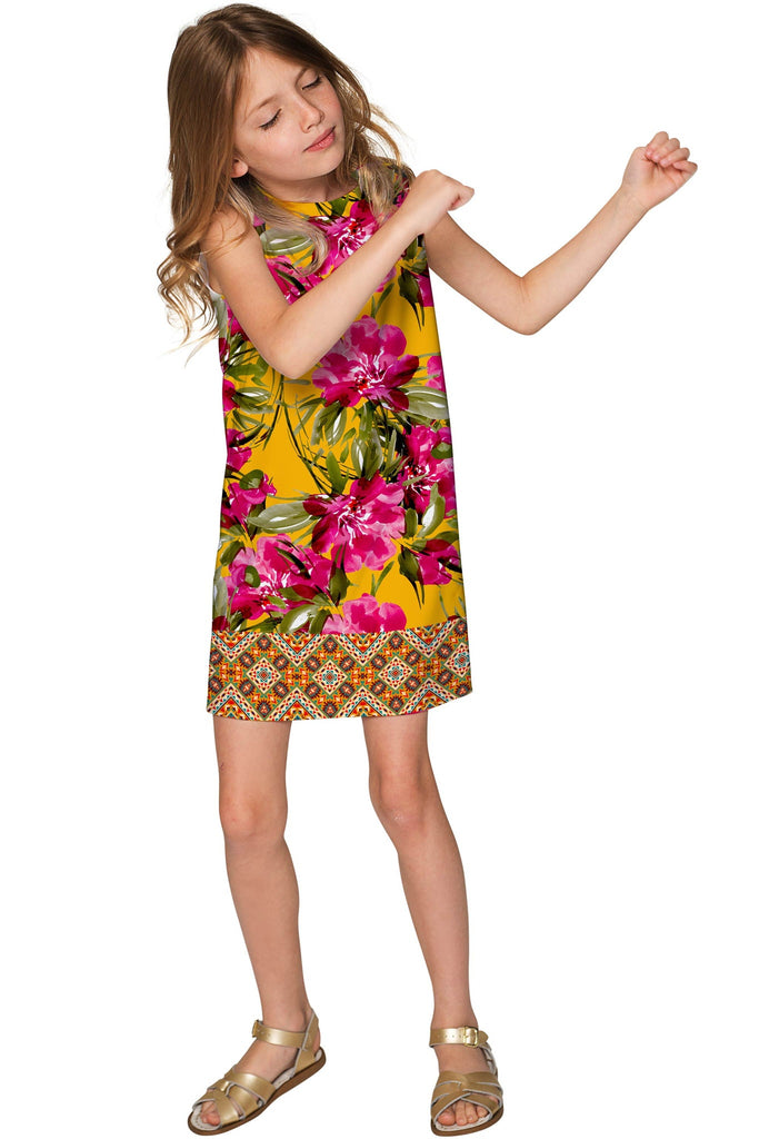 53906a12200dd Indian Summer Adele Pink & Yellow Floral Shift Dress - Girls - Pineapple  Clothing