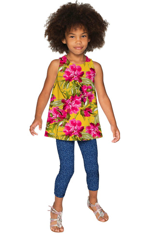 Indian Summer Emily Floral Print Sleeveless Dressy Top - Girls - Pineapple Clothing