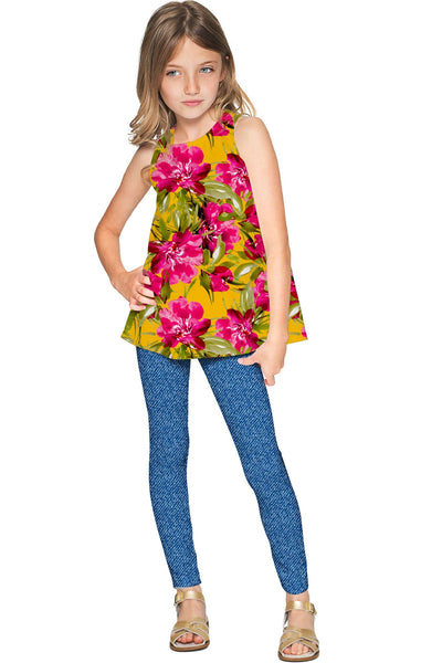Indian Summer Emily Floral Print Sleeveless Dressy Top - Girls