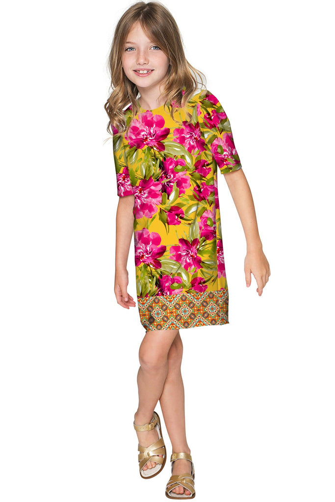 2443d3d1383eb Indian Summer Grace Pink & Yellow Floral Shift Dress - Girls - Pineapple  Clothing