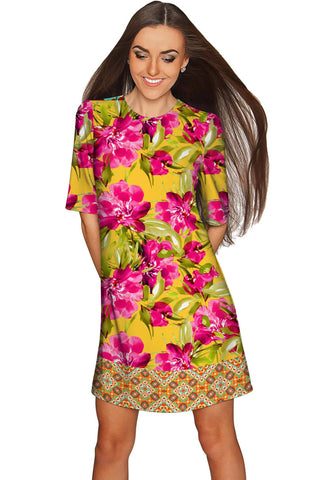 Indian Summer Grace Sleeved Floral Shift Dress - Women - Pineapple Clothing