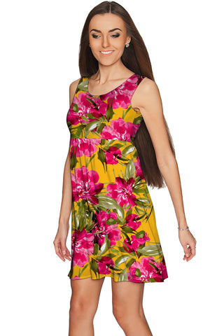 Indian Summer Sanibel Pink & Yellow Floral Print Dress - Women - Pineapple Clothing