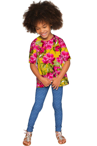 Indian Summer Sophia Catchy Floral Print Fancy Top - Girls - Pineapple Clothing