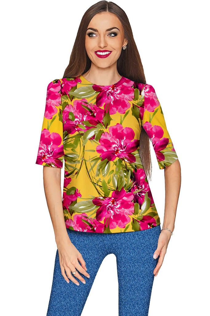 f8cc0723f454c Indian Summer Sophia Yellow Pink Floral Print Top - Women - Pineapple  Clothing