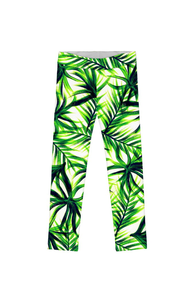 Island Life Lucy Cute Green Floral Print Eco Leggings - Girls - Pineapple Clothing