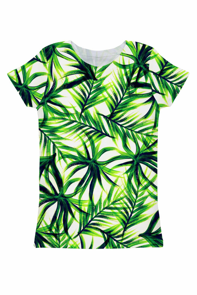 Island Life Zoe Green Floral Print Designer Eco Tee - Women - Pineapple Clothing