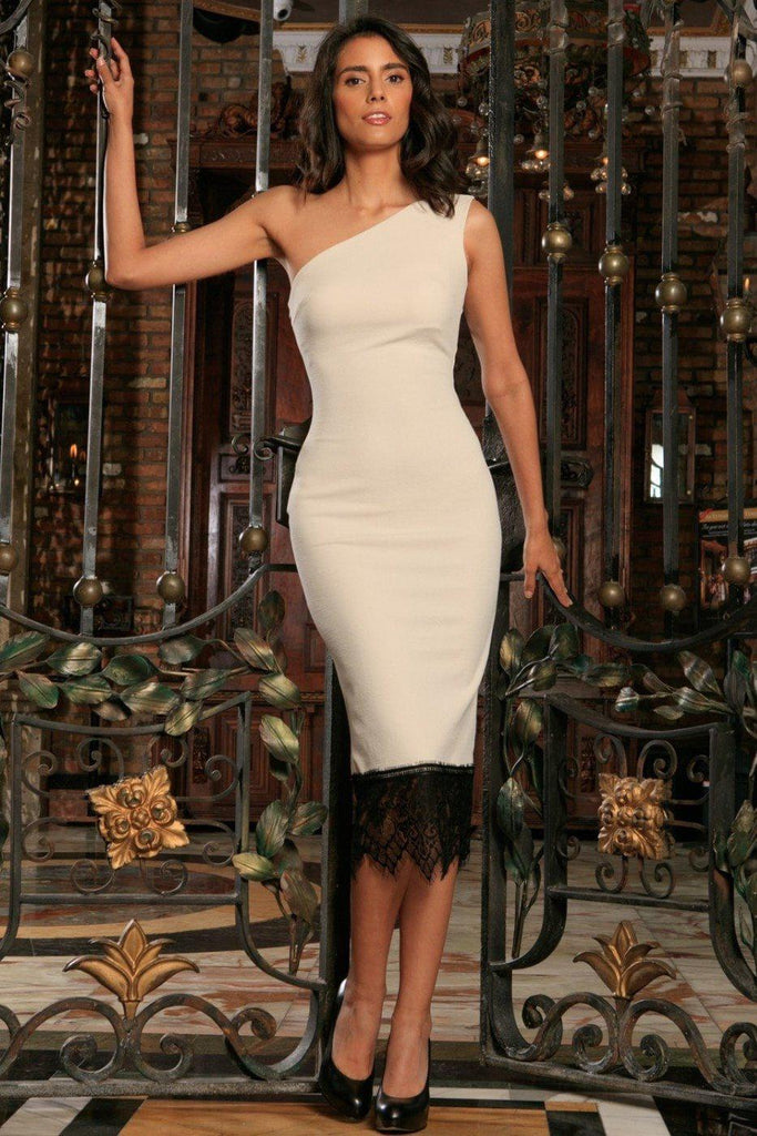 Ivory Beige Stretchy One-Shoulder Bodycon Midi Dress - Women - Pineapple  Clothing 6b856cf23