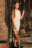 Ivory Beige Stretchy Sleeveless Cute Spring Shift Dress - Girls