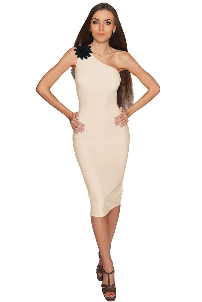 Ivory Beige Trendy One-Shoulder Dress with Flower Corsage - Women –  Pineapple Clothing c42b2163dc