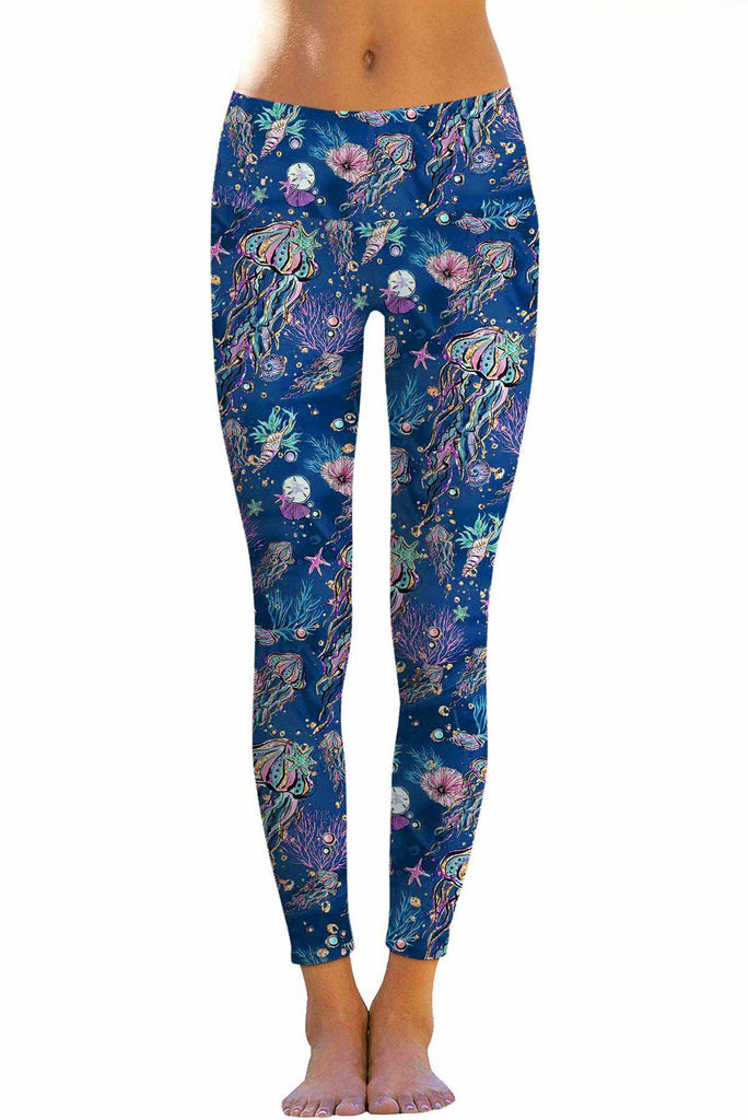 Jellyfish Lucy Blue Sea Life Print Leggings Yoga Pants Women Pineapple Clothing