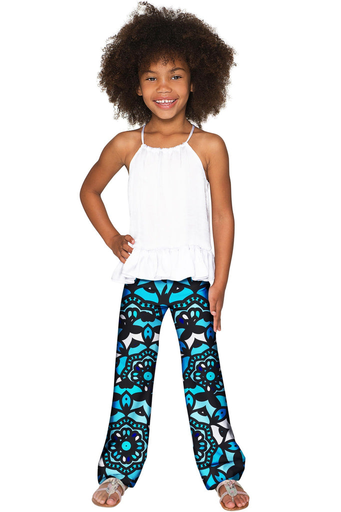 Kaleidoscope Amelia Trendy Blue Stretch Palazzo Pant - Girls - Pineapple Clothing