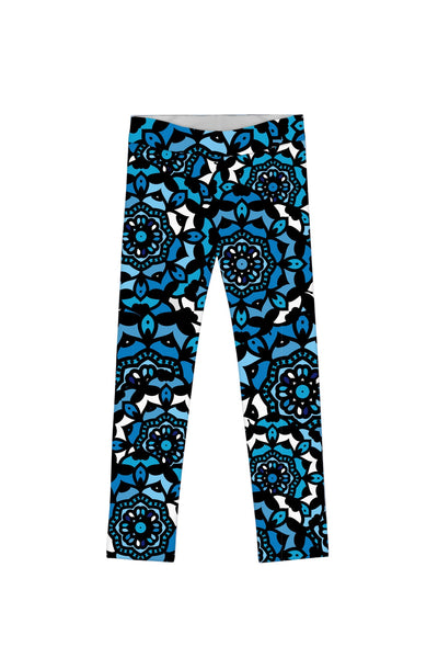 Kaleidoscope Lucy Cute Blue Geometric Print Leggings - Girls