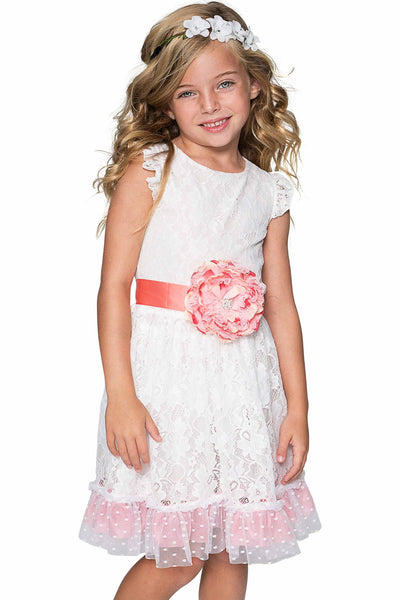 White Lace Fit & Flare Party Dress - Girls