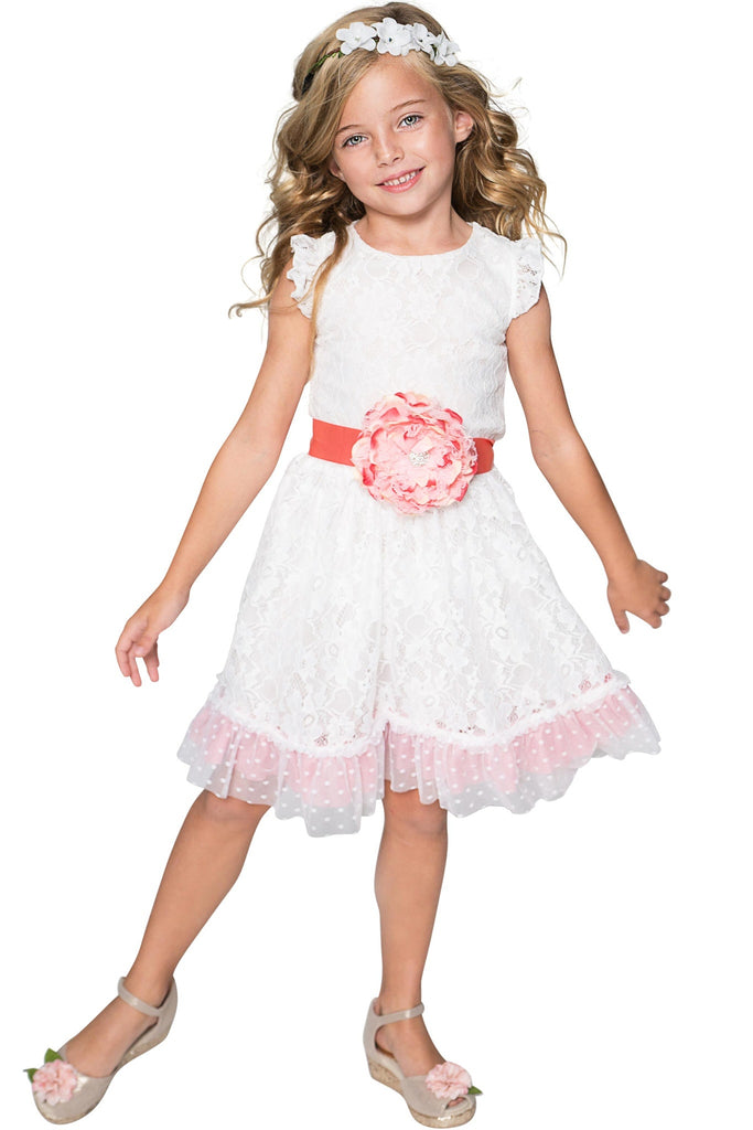 White Lace Fit & Flare Party Dress - Girls - Pineapple Clothing