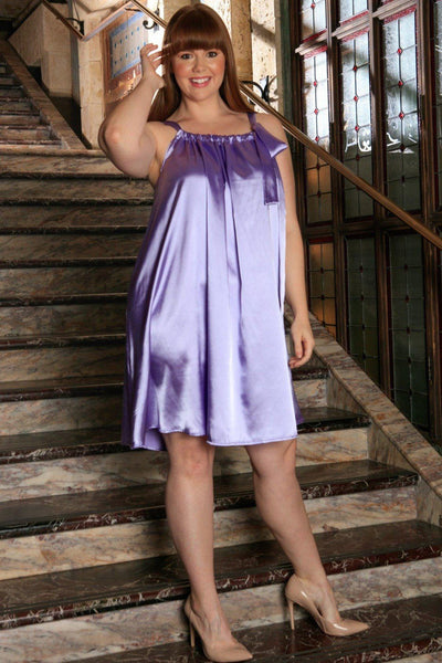 Lavender Charmeuse Halter Swing Spring Party Dress - Women Plus Size