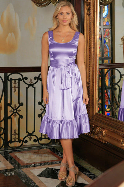 Lavender Fit & Flare Cute Cocktail Ruffle Midi Dress With Belt - Women