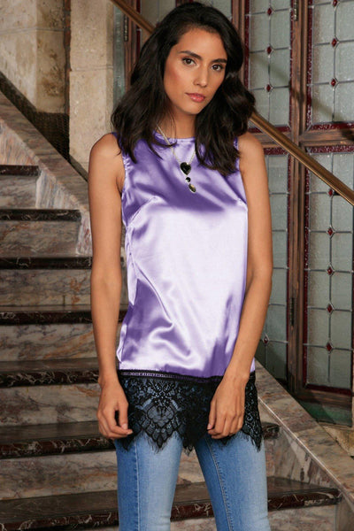 Lavender Sleeveless Cute Dressy Evening Top With Black Lace - Women
