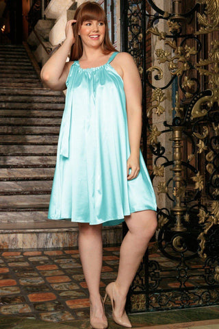 Light Blue Halter Swing Summer Cocktail Sexy Curvy Dress Plus Size - Pineapple Clothing