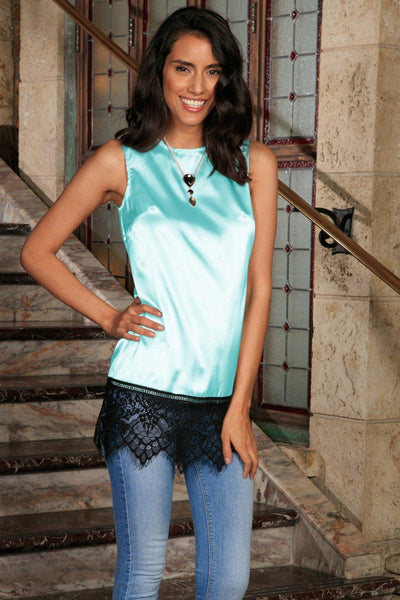 Light Blue Charmeuse Sleeveless Cocktail Dressy Top With Lace - Women