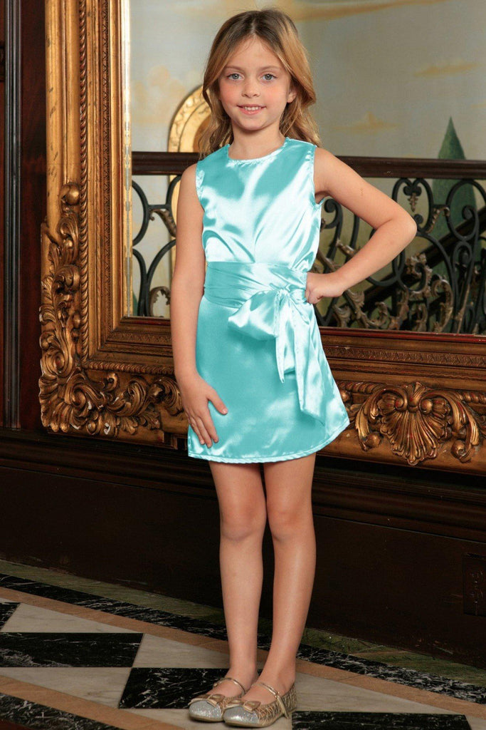 Light Blue Charmeuse Sleeveless Summer A-line Dress With Belt - Girls - Pineapple Clothing
