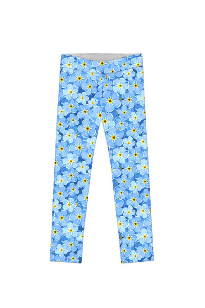 Little Forget-Me-Not Lucy Blue Floral Print Knit Legging - Girls